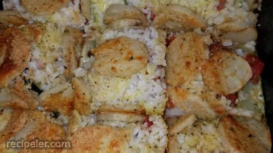 Potato, Rice and Zucchini Bake