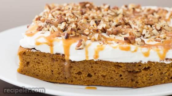 Pumpkin Caramel Bourbon Poke Cake