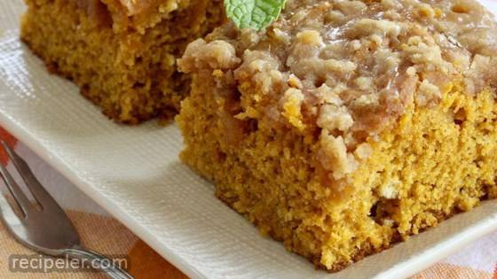 Pumpkin Coffee Cake with a Brown Sugar Glaze
