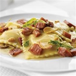 pumpkin ravioli with crispy margherita® prosciutto