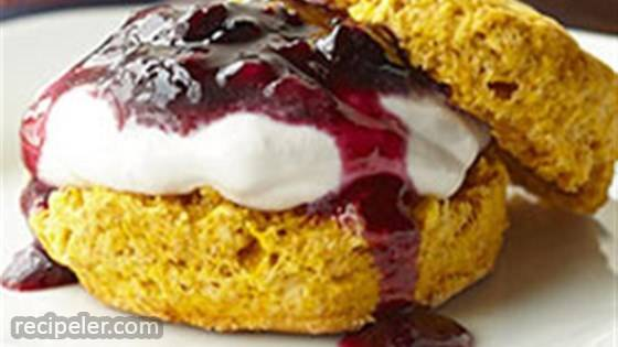 Pumpkin Shortcakes with Blueberry Cream Filling