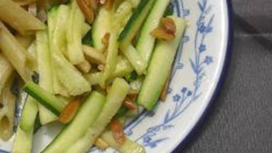 quick zucchini side dish with toasted almonds