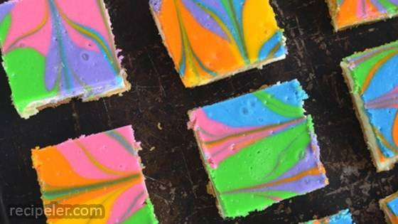 Rainbow Vanilla Cheesecake Cookie Bars