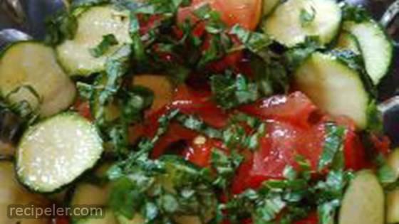 Raw Zucchini Salad with Tomato and Basil