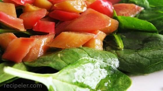 Rhubarb Spinach Salad