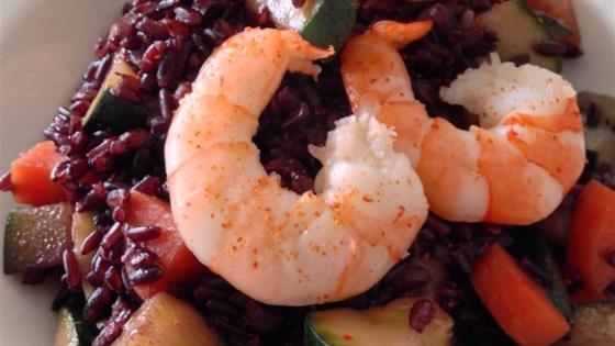 riso venere ai gamberetti e zucchini (venus black rice with prawns and zucchini)