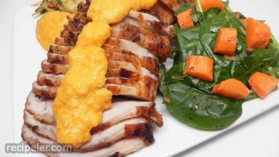 Roast Pork Loin with Carrot Romesco