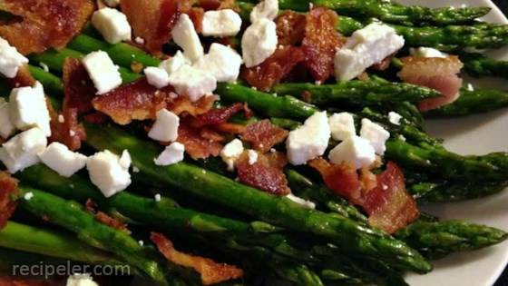 Roasted Asparagus with Bacon and Feta Cheese