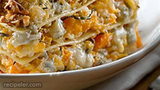 Roasted Butternut Squash Lasagna with Gorgonzola