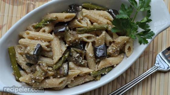 Roasted Eggplant and Asparagus Pasta Salad