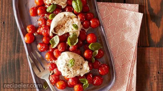 Roasted Tomatoes and Burrata Caprese Salad
