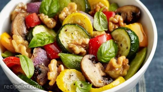 Roasted Vegetables with Walnuts, Basil and Balsamic Vinaigrette