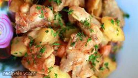 Russian Chicken Stew with Potatoes and Vegetables