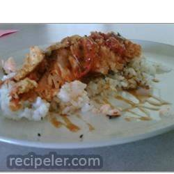 Salmon, Rice, and Fried Tomatoes