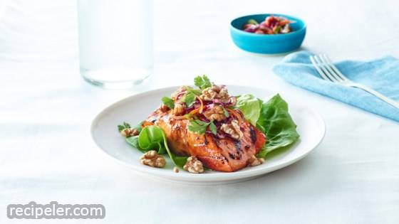 Salmon with Asian Walnut Slaw