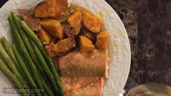 Salmon With Scalloped Sweet Potatoes