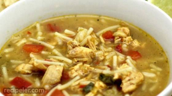 Salsa Verde Chicken and Rice Tortilla Soup