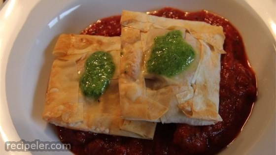 Sausage and Ricotta Ravioli with Pesto Sauce