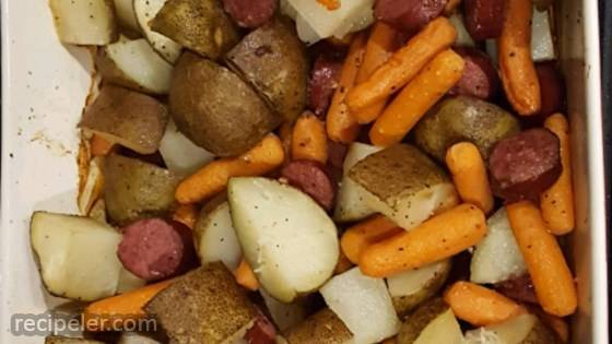 Sausage, Potato, Carrot Bake