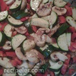 Sausage, Zucchini and Two Pepper Pasta