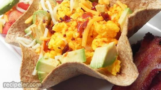 Scrambled Eggs, Cheese, and Avocado Tortilla Bowl