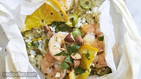 Shrimp and Rice Packets with Olives and Oranges