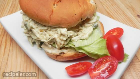 Slow Cooker Shredded Jalapeno Chicken Sandwiches