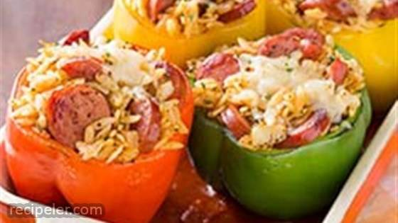 Smoked Sausage and Orzo Stuffed Peppers