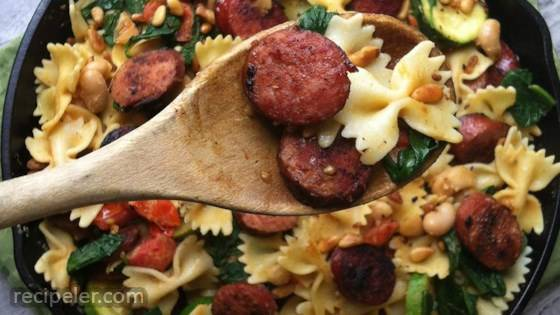 Smoked Sausage, White Bean and Spinach Pasta