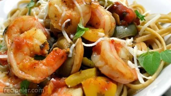 Spaghetti Diablo with Shrimp