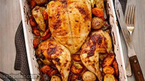 Spice Rubbed Flattened Roast Chicken