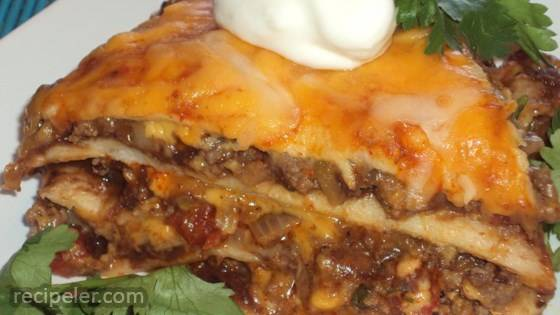 Spicy Beef and Bean Enchilada Pie