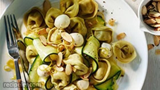 Spinach Cheese Tortellini with Zucchini, Mozzarella and Toasted Almonds
