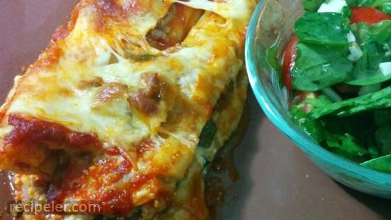 Spinach Manicotti with talian Sausage