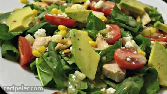 Spinach Salad with Chicken, Avocado, and Goat Cheese