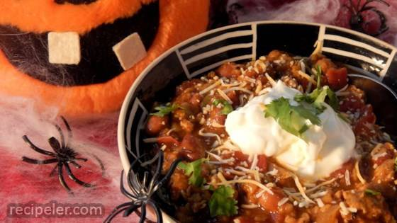 Spooky Slow Cooker Turkey Lentil Chili