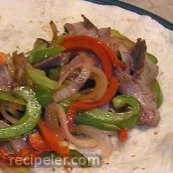Steak, Onion, and Pepper Fajitas