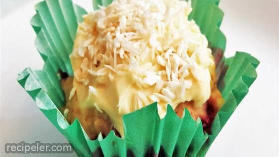 Strawberry Vanilla Muffins with Toasted Coconut Cream Cheese Frosting