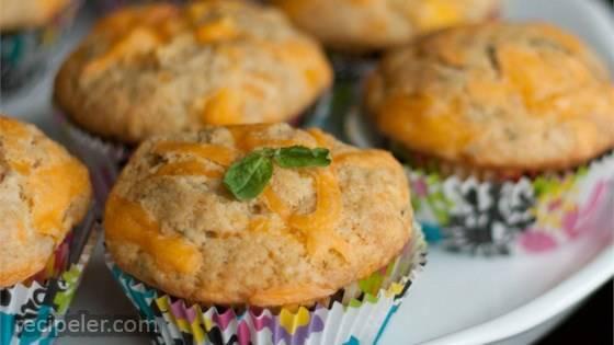 Summer Peach, Basil & Cheddar Muffins