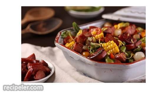Sweet Corn Succotash with Smoked Sausage