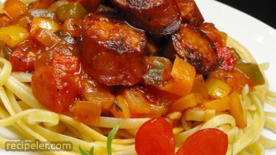 Sweet talian Sausage Ragout with Linguine