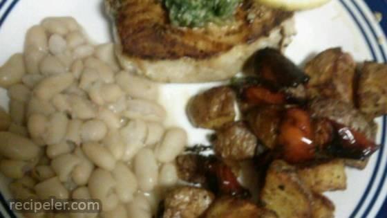 Swordfish Steaks with Arugula and Basil Sauce