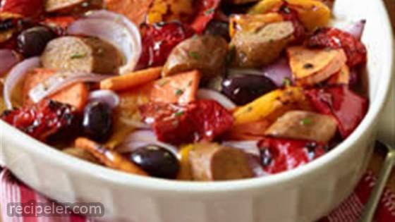 talian Sausages with Roasted Sweet Potatoes and Sweet Peppers