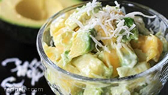 Tropical Avocado Fruit Salad with Honey-Lime Dressing