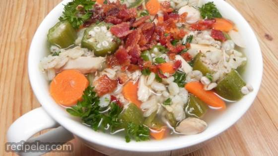 Turkey and Okra Soup with Barley and Bacon