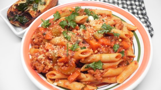 turkey bolognese with penne