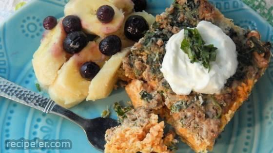 Turkey Spinach Sweet Potato Breakfast Casserole