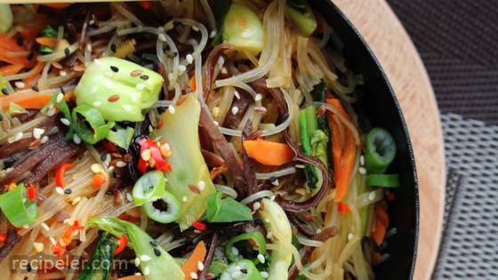 Vegan Japchae Korean Noodles