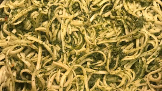 vegan linguine with spinach pesto