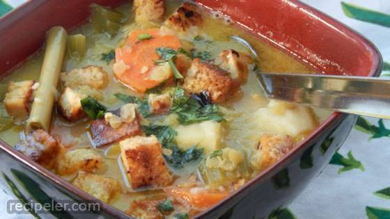 Vegetable Tofu Soup with Lemongrass and Coconut Milk